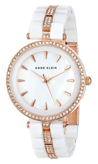 Anne klein women 39 s ak 1444wtrg swarovski crystal accented rose gold tone and white ceramic for Anne klein swarovski crystals